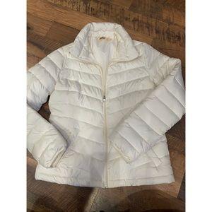 Hollister white puffer jacket